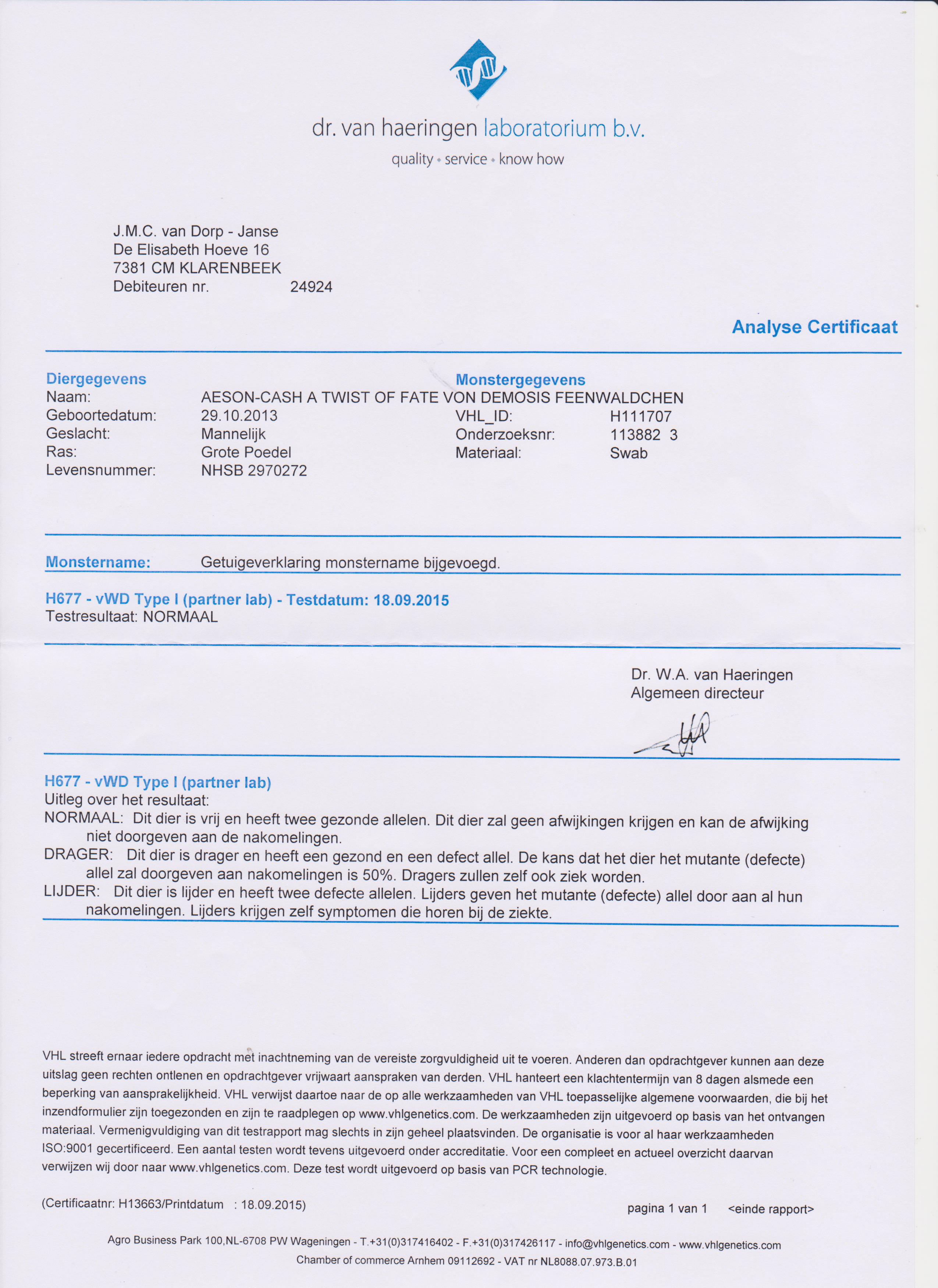 Analyse Certificaat DNA vvWD type1 Cash 001
